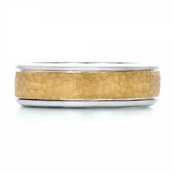 Custom Men's Two-Tone Hammered Finish Wedding Band - Top View