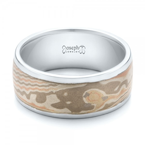 Custom Men's White Gold and Mokume Wedding Band - Laying View