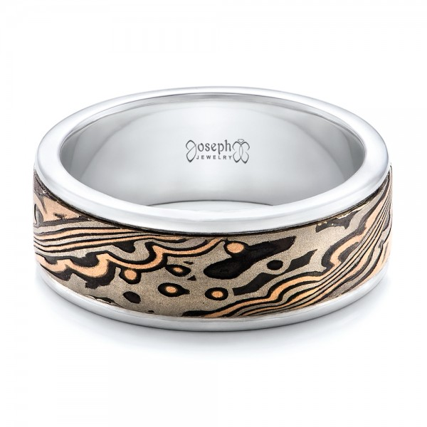 custom s white gold and mokume wedding band 102114