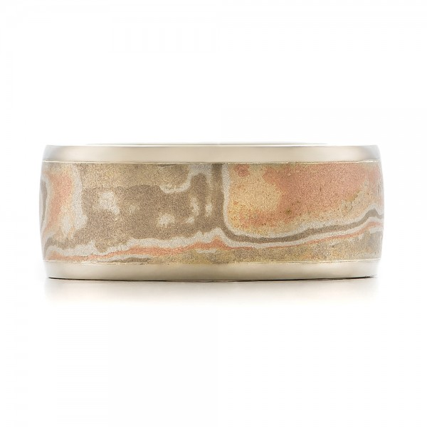 Custom Men's White Gold and Mokume Wedding Band - Top View