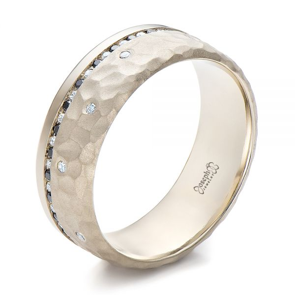 Custom Men's Black and White Diamond and Hammered Finish Wedding Band - Image