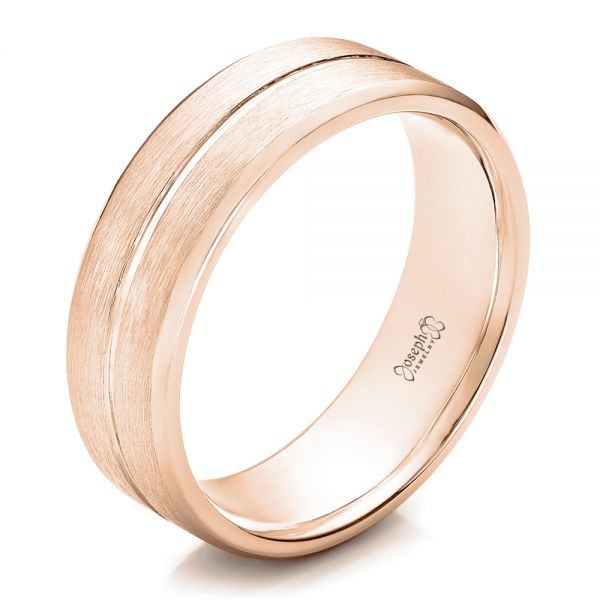 18k Rose Gold 18k Rose Gold Custom Men's Brushed Band - Three-Quarter View -