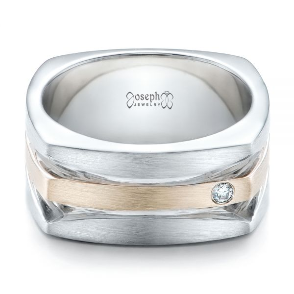 Custom Men's Brushed Two-Tone White Gold Band - Flat View -  101171 - Thumbnail