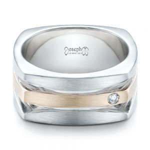 Custom Men's Brushed Two-Tone White Gold Band