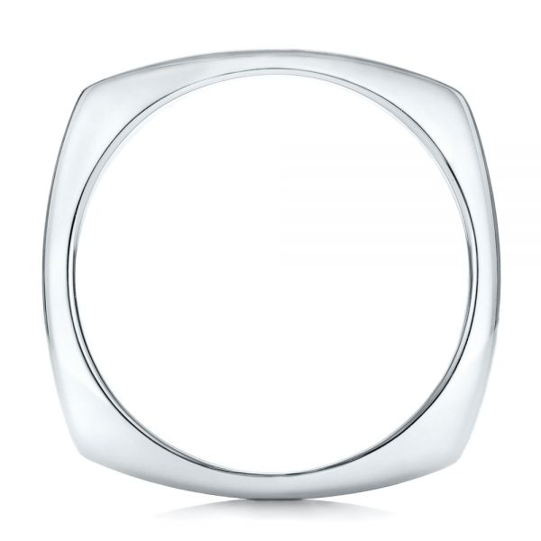 Custom Men's Brushed Two-Tone White Gold Band - Front View -  101171 - Thumbnail