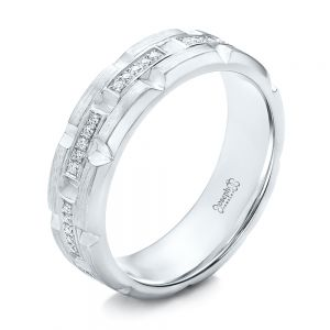 Custom Men's Diamond Brick Cut Wedding Band - Image