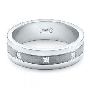 Custom Men's Diamond Sandblasted Finish Wedding Band