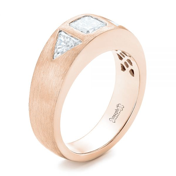 14k Rose Gold 14k Rose Gold Custom Men's Diamond Wedding Band - Three-Quarter View -
