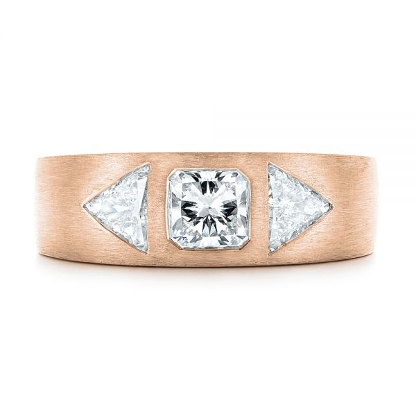 14k Rose Gold 14k Rose Gold Custom Men's Diamond Wedding Band - Top View -