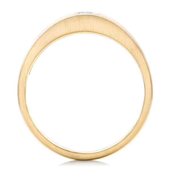 Custom Men's Diamond Wedding Band - Finger Through View