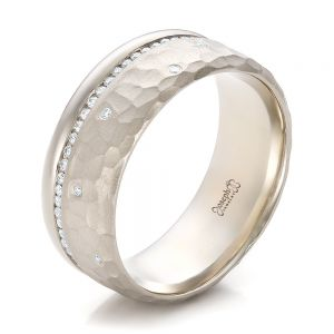 Custom Men's Diamond and Hammered Finish Wedding Band - Image