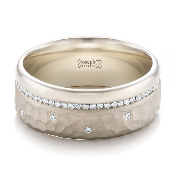 Custom Men's Diamond and Hammered Finish Wedding Band - Flat View -  100611 - Thumbnail