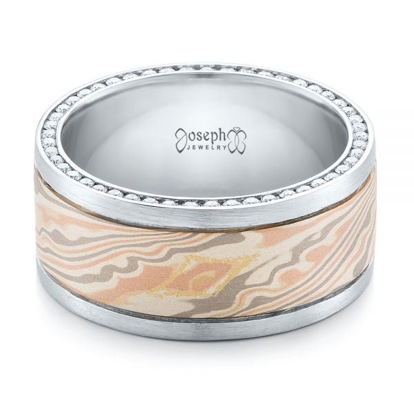 Custom Men's Diamond and Mokume Wedding Band - Flat View -  102009 - Thumbnail