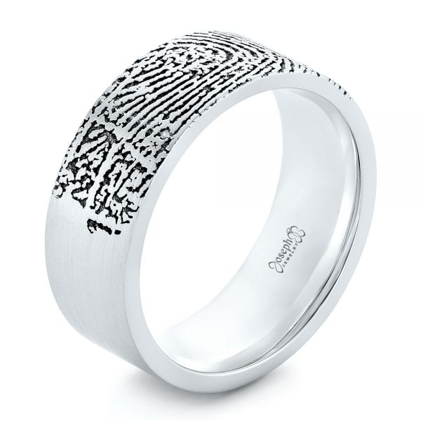 Custom Men's Engraved Fingerprint Wedding Band - Image