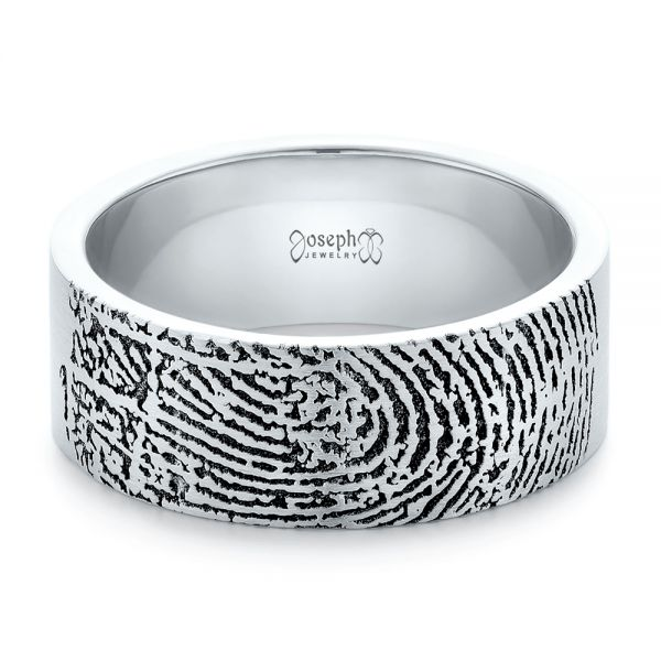 18k White Gold Custom Men's Engraved Fingerprint Wedding Band - Flat View -  102383