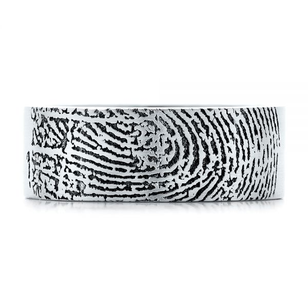18k White Gold Custom Men's Engraved Fingerprint Wedding Band - Top View -  102383