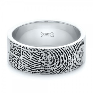 Custom Men's Engraved Fingerprint Wedding Band