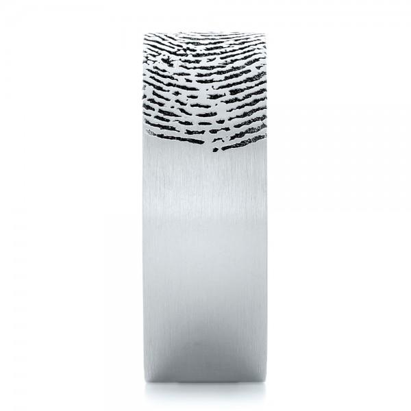 Custom Men's Engraved Fingerprint Wedding Band - Side View