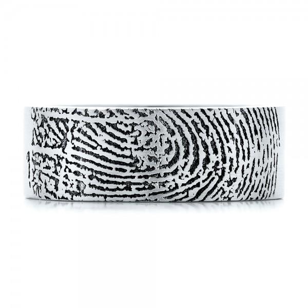 Custom Men's Engraved Fingerprint Wedding Band - Top View