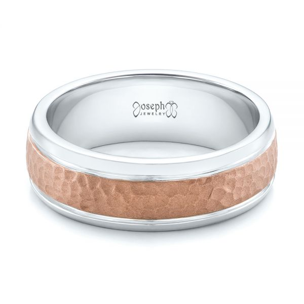 18K Gold And 14k Rose Gold Custom Men's Hammered Band - Flat View -