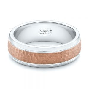 Custom Men's Hammered Rose Gold and White Gold Band