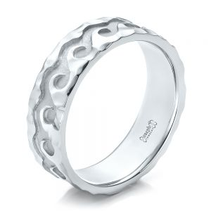 Custom Men's Hammered Wave Wedding Band - Image