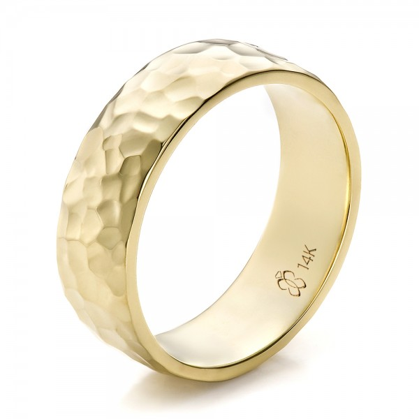 ... Men's Wedding Bands › Custom Men's Hammered Yellow Gold Wedding Band