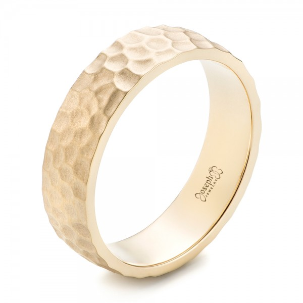 Custom Men's Hammered Yellow Gold Wedding Band