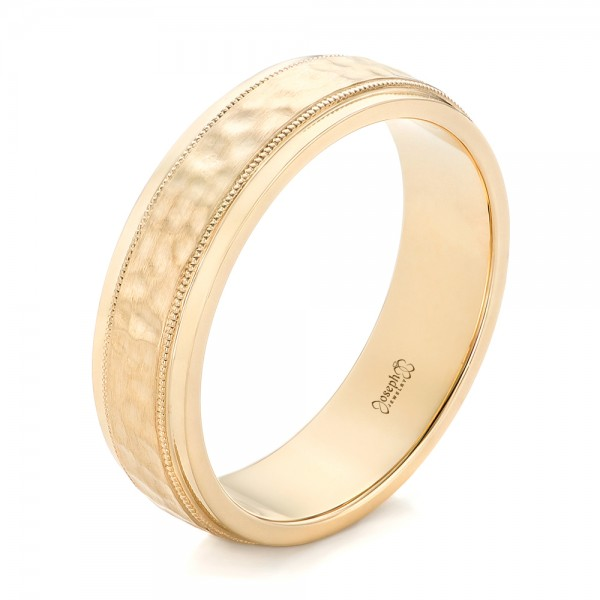 custom mens hammered yellow gold wedding band - Ring For Wedding