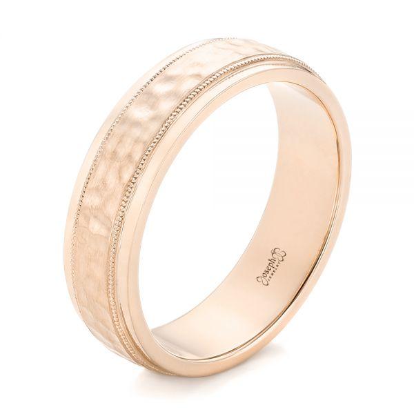 14k Rose Gold Custom Men S Hammered Wedding Band 102760 Seattle Bellevue Joseph Jewelry