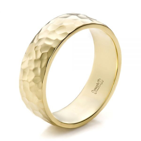 Custom Men's Hammered Yellow Gold Wedding Band - Image