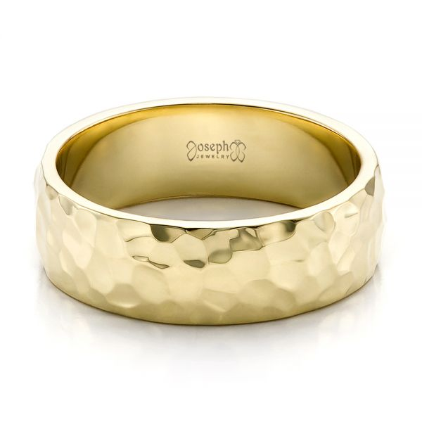 14k Yellow Gold Custom Men's Hammered Wedding Band - Flat View -
