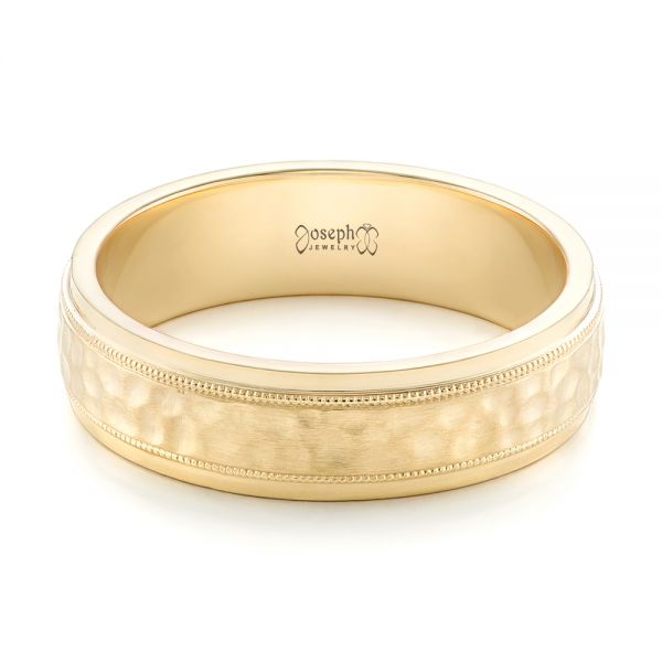 Custom Men's Hammered Yellow Gold Wedding Band - Flat View -  102760 - Thumbnail