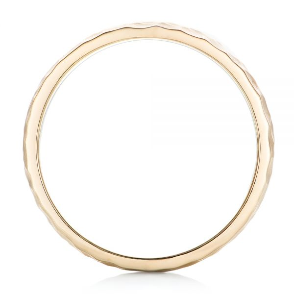 14k Yellow Gold Custom Men's Hammered Wedding Band - Front View -