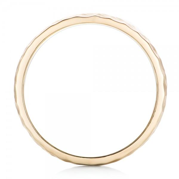 Custom Men's Hammered Yellow Gold Wedding Band - Finger Through View