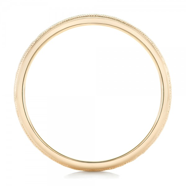Custom Men's Hammered Yellow Gold Wedding Band - Front View -  102760 - Thumbnail