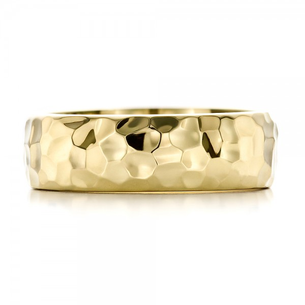 custom mens hammered yellow gold wedding band top view