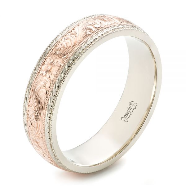 14K Gold And 14k Rose Gold Custom Men's Hand Engraved Wedding Band - Three-Quarter View -