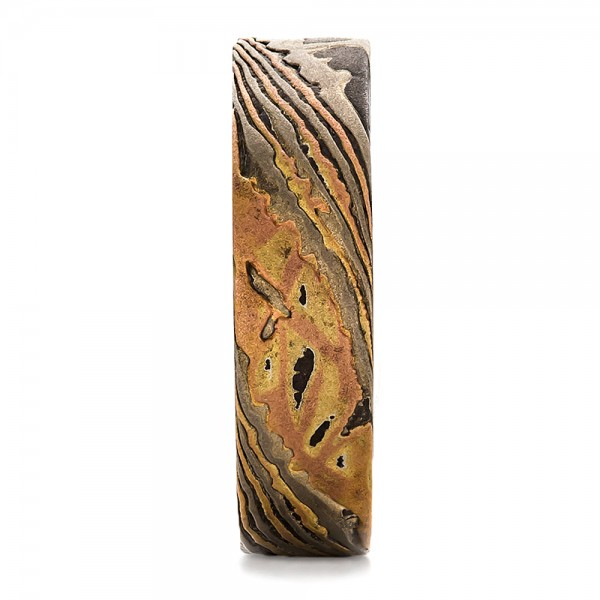 Custom Men's Mokume Wedding Band - Side View