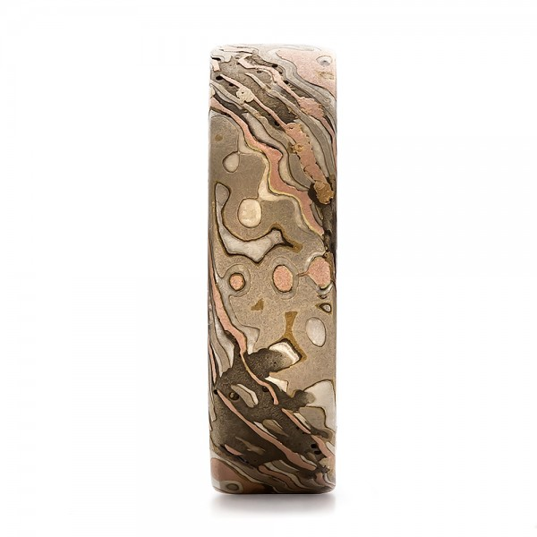Custom Men's Mokume Wedding Band - Side View -