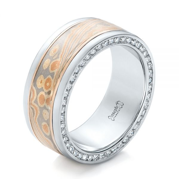 Custom Men's Mokume and Diamond Wedding Band - Image