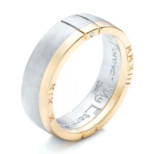 Custom Men's Palladium and Gold Diamond Band - Image