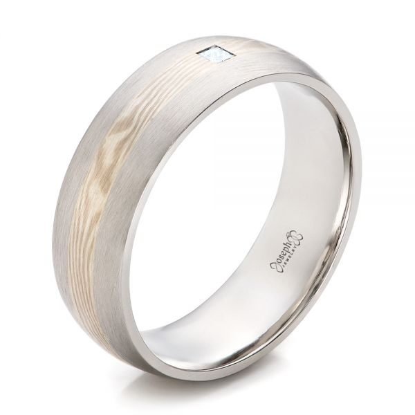 Custom Men's Palladium and Mokume Wedding Band - Image