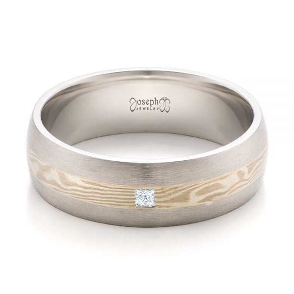 Platinum And 14K Gold Platinum And 14K Gold Custom Men's Mokume Wedding Band - Flat View -