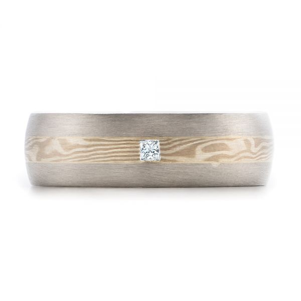 Platinum And 14K Gold Platinum And 14K Gold Custom Men's Mokume Wedding Band - Top View -