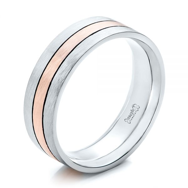 Custom Men's Palladium and Rose Gold Brushed Band - Three-Quarter View -  101912 - Thumbnail