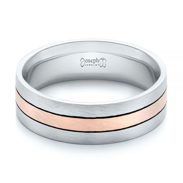Custom Men's Palladium and Rose Gold Brushed Band - Flat View -  101912 - Thumbnail