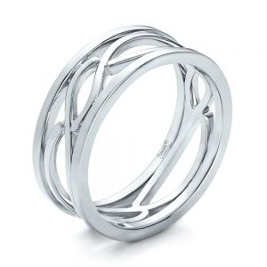Custom Men's Platinum Filigree Wedding Band - Image