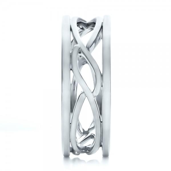 Custom Men's Platinum Filigree Wedding Band - Side View