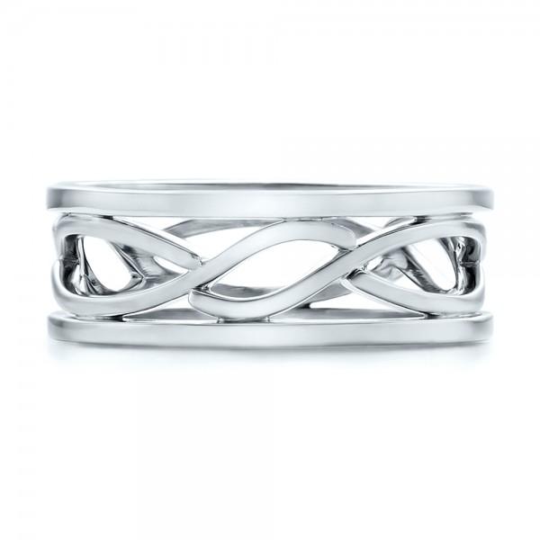 Custom Men's Platinum Filigree Wedding Band - Top View